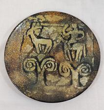 "Enameled Hanging Plate Petroglif Deer Man Riding Horse Design 12"" 31 cm."