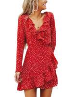 Fashion Women Long Sleeve Chiffon Polka-dot Deep V-neck Ruffle Short Wrap Dress