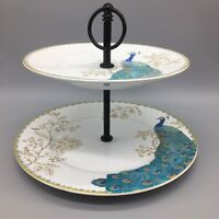 222 Fifth Peacock Garden Tidbit Serving Tray Stand Dessert Turquoise Gold NEW