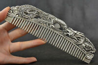 Chinese Old Decoration Collectibles Handwork Tibet Silver Carving Dragon Comb mk