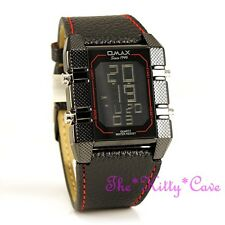 Omax Nero & Rosso Cronografo Acciaio Seiko Digitale LCD LEATHER SPORTS WATCH oas085