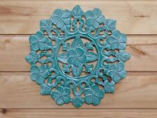 Wooden Painted Shabby Chic Floral Plaque 30cm..