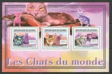 [G] GUINEA 2011 CATS, DOMESTIC PETS,  SHEET OF 3 STAMPS.