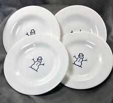 Four Pottery Barn Keepsake Snowman Dessert Plates Blue & White Christmas Holiday