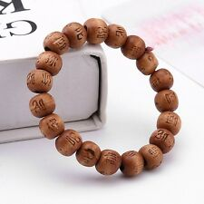 Buddha Tibet Monk Wood Beads Meditation Bracelet Elastic Stretch - Light Brown
