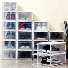 10 Pack Plastic Stackable Shoe Box Storage Organizer Clear Sneaker for AJ