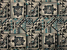 Navajo Indian Totem Turtle Teal Black Cotton Fabric FQ