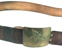 Vintage WWII Russia USSR Military Soldier Leather Belt w/ Brass Buckle Sickle