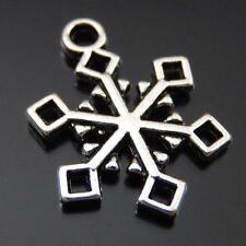 40pcs Vintage Silver Alloy Snowflake Charms Pendant Jewelry 16*1*20mm 39720