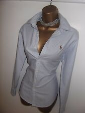 Exquisito Ralph Lauren Oxford Azul y Blanco a Rayas Blusa Camisa Top Uk 10