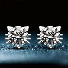 Hot Cute Korean Stone Crystal Rhinestone Women Stud Cat Earrings Cheap