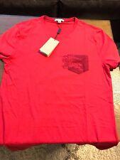 New Authentic Burberry Men Big Knight Prorsum Pocket Logo Red T-Shirt L $195