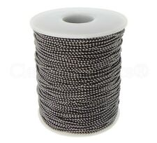 Ball Chain Roll - 330 Ft - Gunmetal (Dark Silver) Color - 1.5mm Ball - 100 Meter