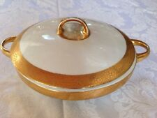 Bavaria China Real Gold Trim Round Covered Serving Dish