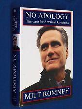 SIGNED Mitt Romney NO APOLOGY 1st Edition Hardcover HCDJ Autographed Mormon LDS