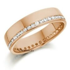 14K SOLID ROSE GOLD DIAMOND ETERNITY WEDDING BANDS RINGS