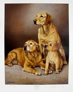 NIGEL HEMMING YELLOW LABRADOR LAB DOGS Hand Signed Limited Edition Lithograph