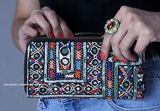 Indian Vintage Afghani Embroidered Clutch Bag Designer Women Zipper Wallet Bag