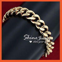 24K CHAMPAGNE GOLD FILLED CHUNKY CHAIN RINGS MENS LADIES SOLID BRACELET BANGLE