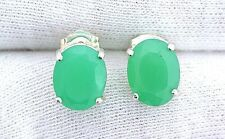 10x8 Oval Faceted Chrysoprase  Gemstone Gem Stone Sterling Silver Earrings 8174