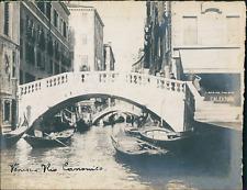 Italie, Venise, Le Rio de la Canonica et ses ponts, ca.1910, vintage silver prin