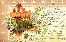 T76.Vintage Hungarian Postcard.  Gnomes reading a letter in the garden.