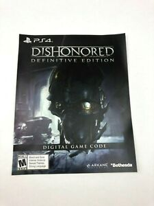Dishonored Definitive Edition Unused Insert for PlayStation 4 PS4