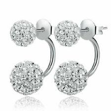 Womens Silver Stud Earrings Double Crystal Drop Dangle Studs Jewellery Ear Round