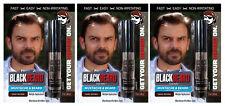 3 Mens Instant Hair Colour Mascara Beard Moustache Eyebrows Sideburns DARK BROWN