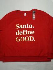 No Boundaries Womens Holiday Christmas Sweatshirt Size Medium  Santa Define Good
