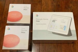 *BRAND NEW* FACTORY SEALED!!!! Google Home Hub Chalk & 2x Google Home Mini Pink