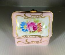 Limoges Hand Painted With Flowers Pink Trinket Box
