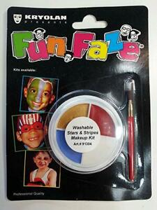 Makeup Kits Kryolan Fun Faze Washable 4 Color Wheel W/ Brush Halloween Makeup