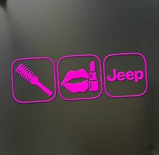 Jeep brush makeup shift girl lipstick sticker Funny race car window pink decal