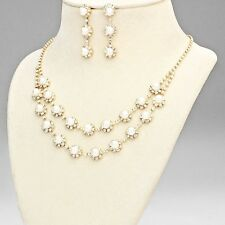 Gold Double Tier Pearl Rhinestone Necklace Set