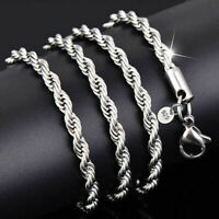 925 Sterling Solid Silver Plated Twist Rope Chain Necklace For Women jewelry 2mm