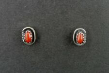 Coral Stones Stud with Design Sterling Silver 925 Pierced EARRINGS