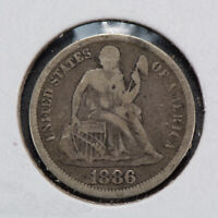 1886 10c SEATED LIBERTY DIME LOT#N552