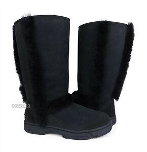 UGG Sunburst Tall Black Suede Fur Boots Size 9 *NEW*