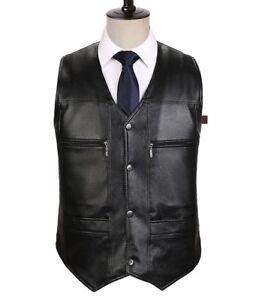 Spring Black warm Leather coat Vest Casual Mens Formal Biker Waist jacket tops
