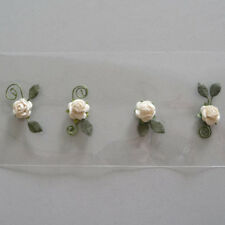12 Rosenblüten Rose Streudeko Hochzeit Taufe Einladungen m. Klebepunkt natur