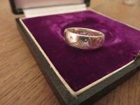 Schöner 925 Silber Ring Stern Gravur Utopia Abstrakt Mystisch Vintage Retro Top