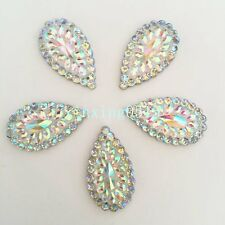 10PCS 16*28mm AB Drop Flatback Resin Teardrop Rhinestone Wedding Buttons 2 hole