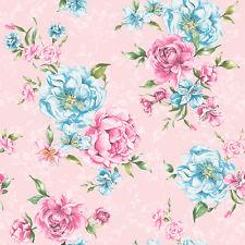 Flower Wallpaper Floral Pattern Josephine Leaf Motif Bright Pink Blue Holden