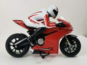 """Ducati sport bike Motorcycle red & white with rider, 12"""" long"""