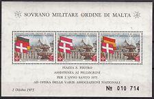 BLOC  TIMBRE MALTE NEUF SOVRANO MILITARE DI MALTA 1975
