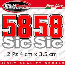 Adesivi stikers numero 58 MARCO SIMONCELLI SUPER SIC casco moto Gp SBK NEW !!