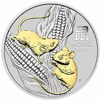 2020 Year of the Mouse 1oz .9999 GILDED Silver Coin - Lunar Series III - PM