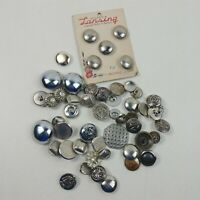 Button Lot Vintage Silver Metal Round Eagle Lion Lansing Buttons Mixed Lot