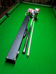 Pool Snooker Cue and reinforced Hard Case Spartan Black Force Quality 2 pce ash